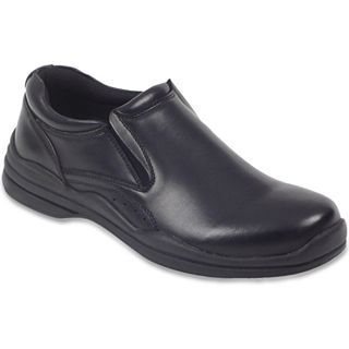 Deer Stags Goal Mens Leather Slip On Shoes, Black