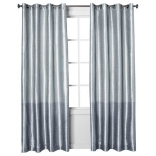 Threshold Banded Faux Silk Window Panel   Blue (54x95)