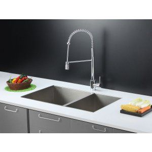 Ruvati RVC2341 Combo Stainless Steel Kitchen Sink and Chrome Faucet Set