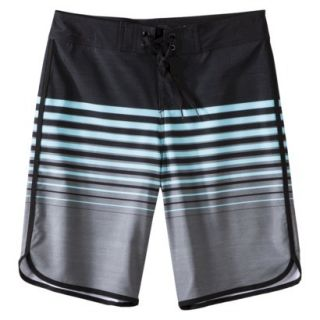Mossimo Supply Co. Mens 11 Board Shorts   Black/Blue Stripe 36