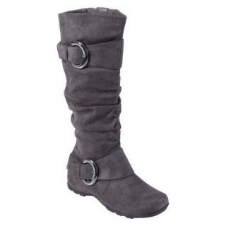 Womens Bamboo By Journee Slouchy Buckle Boots   Grey 9W