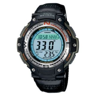 Casio Mens Digital Compass Twin Sensor Green Nylon Band Sport Watch   Black