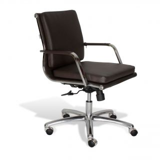 Commercial Grade Modern Office Chair In Brown (BrownMaterials Steel & LeatheretteFinish Chrome Seat Height 18 to 22 inchesAdjustable height 37 to 41 inchesWheels YesArms YesSmooth tiltTension controlSeat dimensions 21 inches wide x 23 inches deepTo