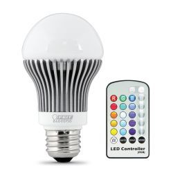 Feit Electric A19/HP/LED/PARTY LED Light Bulb, E26 Base, 6.5W Includes Remote Control 5 Brightness Levels 16 Color Choices