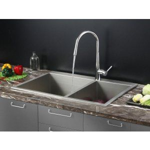 Ruvati RVC2402 Combo Stainless Steel Kitchen Sink and Chrome Faucet Set