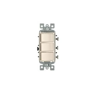 Leviton 1755T Light Switch, Decora Three Rocker Combo Switch, Commercial Grade, SinglePole Light Almond