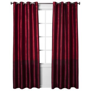 Threshold Banded Faux Silk Window Panel   Red (54x95)