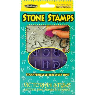 Stone Stamps  20 Double sided Victorian style Letters And Numbers