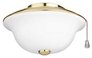 Nutone LK20FWPB Fan, Traditional Indoor Ceiling Fan Light Kit with Frosted White Glass Polished Brass Trim