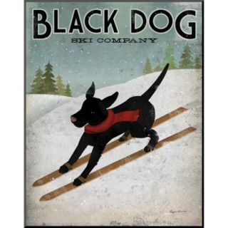 Art   Black Dog Ski Mounted Print