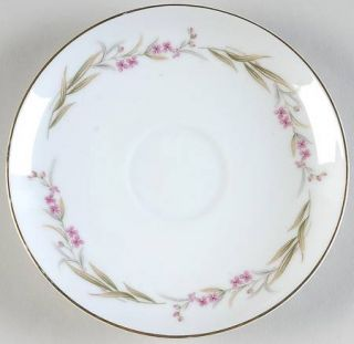Fine China of Japan Prestige Saucer, Fine China Dinnerware   Purple Flowers, Gre
