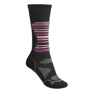 SmartWool PhD Mid Cushion Ski Socks   Lightweight  Merino Wool (For Women)   BLACK/MULTI (L )