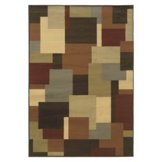 Contemporary Squares Area Rug   Brown (53x76)