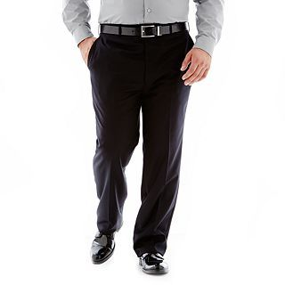 Stafford Super 100 Wool Suit Flat Front Suit Pants Portly, Black, Mens