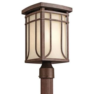 Kichler 49150AGZ Outdoor Light, Arts and Crafts/Mission Post Mount 1 Light Fixture Aged Bronze
