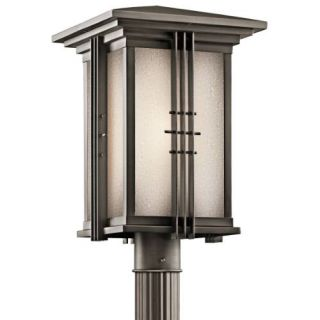 Kichler 49163OZ Outdoor Light, Arts and Crafts/Mission Post Mount 1 Light Fixture Olde Bronze