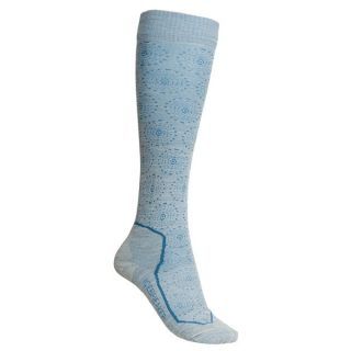 Icebreaker Ski Lite Socks   Merino Wool  Over the Calf (For Women)   SNOWFLAKE BONE (S )