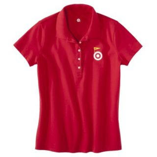 Womens Red Banner Art Short Sleeve Polo   XS