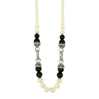 Womens Beaded Necklace   Black/White/Silver