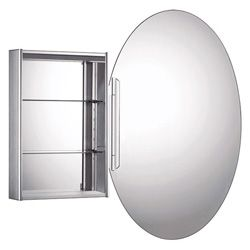 Whitehaus WHOLI Medicinehaus Oval Double Faced Medicine Cabinet with Glass Shelv