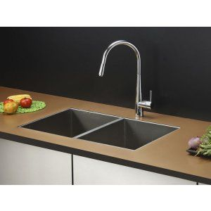 Ruvati RVC2332 Combo Stainless Steel Kitchen Sink and Chrome Faucet Set