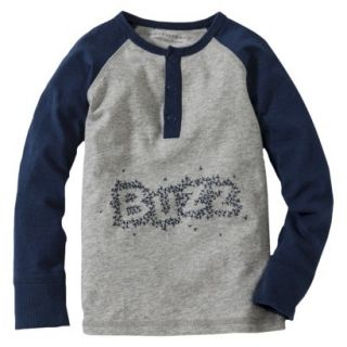 Burts Bees Baby Toddler Boys Buzz Henley Tee   Grey/Navy 4T