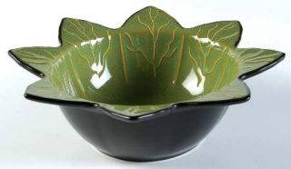Roscher & Co Olive Green Leaf Collection Soup/Cereal Bowl, Fine China Dinnerware