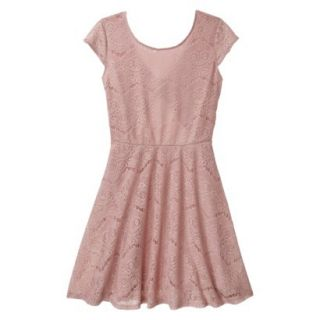 Xhilaration Juniors Open Back Lace Dress   Pale Mauve S(3 5)