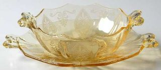 Fostoria Trojan Topaz Mayonnaise Bowl and Underplate   Stem #5099, Topaz, Etch #
