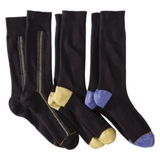 Auro a Gold Toe Brand Mens 3pk Dress Socks   Black/Assorted Patterns