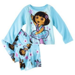 Dora the Explorer Infant Toddler Girls 2 Piece Pajama Set   Blue 3T