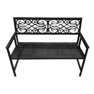 DC America Portable Folding Garden Bench   All Weather Resin Wicker Seat and