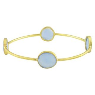 24ct Yellow Gold Plated Brass Blue Onyx Bangle   Gold/Blue (8)
