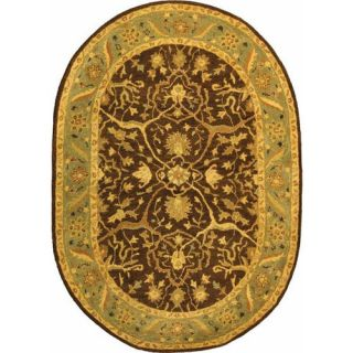 Safavieh Antiquities Brown/Green Rug AT14F Rug Size Oval 46 x 66