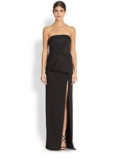 Black Halo Tatiana Strapless Column Gown   Black
