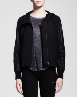 Womens Hooded Leather Sleeve Bomber Jacket   HELMUT Helmut Lang