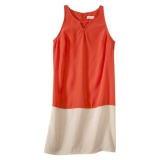Merona Womens Colorblock Hem Shift Dress   Hot Orange/Hamptons Beige   XS