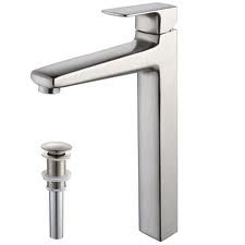 Kraus KEF15500PU15BN Bathroom Faucet, Virtus Single Lever Vessel Faucet w/ Pop Up Drain Brushed Nickel
