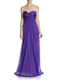 Beaded Sweetheart Chiffon Cutout Back Gown   Purple