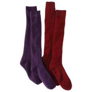 Merona Womens 2 Pack Knee High Cable Boot Socks   Dark Red One Size Fits Most