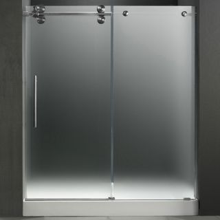Vigo Industries VG6041STMT60LWL Shower Door, 60 Frameless 3/8 Left w/White Base Center Drain Frosted/Stainless Steel