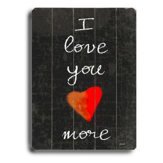 Artehouse 14 x 20 in. I Love You More Wall Art Multicolor   0003 9352 26