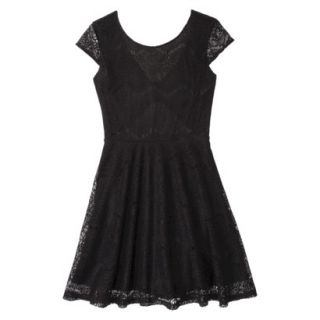 Xhilaration Juniors Open Back Lace Dress   Black XS(1)