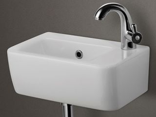 Alfi Brand AB101 Bathroom Sink, Small Wall Mounted Porcelain Basin White
