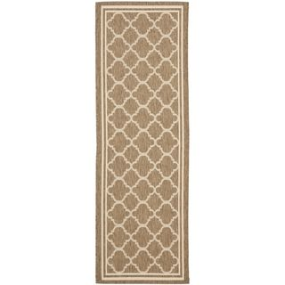 Safavieh Indoor/ Outdoor Courtyard Brown/ Bone Rug (23 X 18)