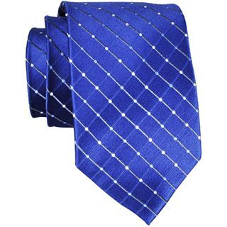 Stafford Dotted Grid Silk Tie, Navy, Mens