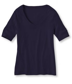 Double L Rib Knit Tee, Elbow Sleeve V Neck