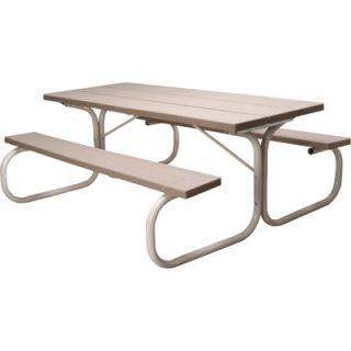 Leisure Time Commercial Injection Molded Picnic Table with Steel Frame   72in.L,