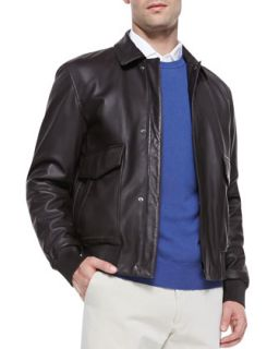 Leather Aviator Bomber Jacket, Dark Brown   Loro Piana