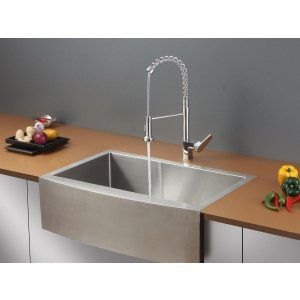 Ruvati RVC1431 Combo Stainless Steel Kitchen Sink and Chrome Faucet Set